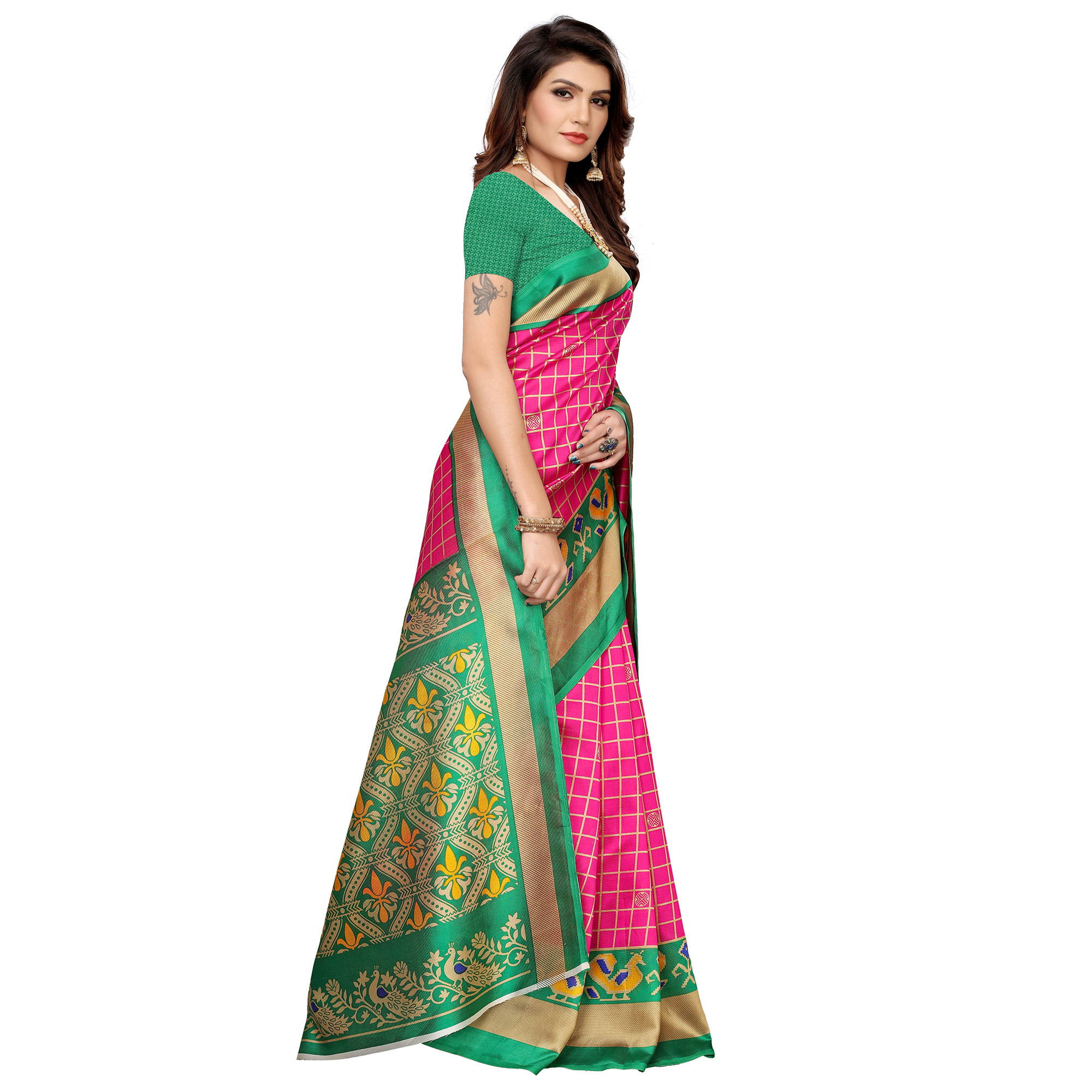 Gorgeous Pink Colored Casual Printed Mysore Silk Saree