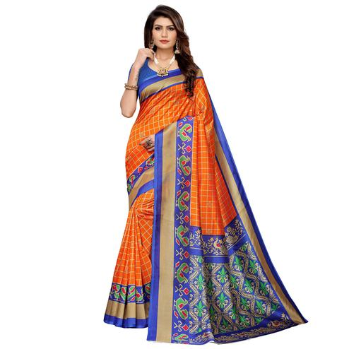 Blissful Orange Colored Casual Printed Mysore Silk Saree