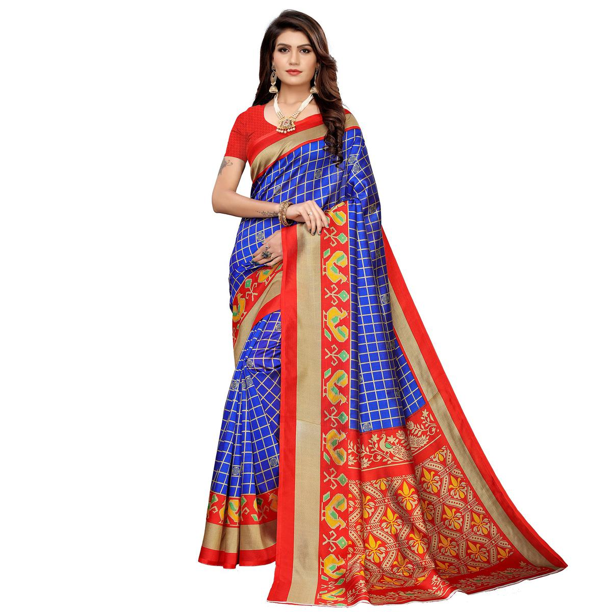 Fantastic Blue Colored Casual Printed Mysore Silk Saree