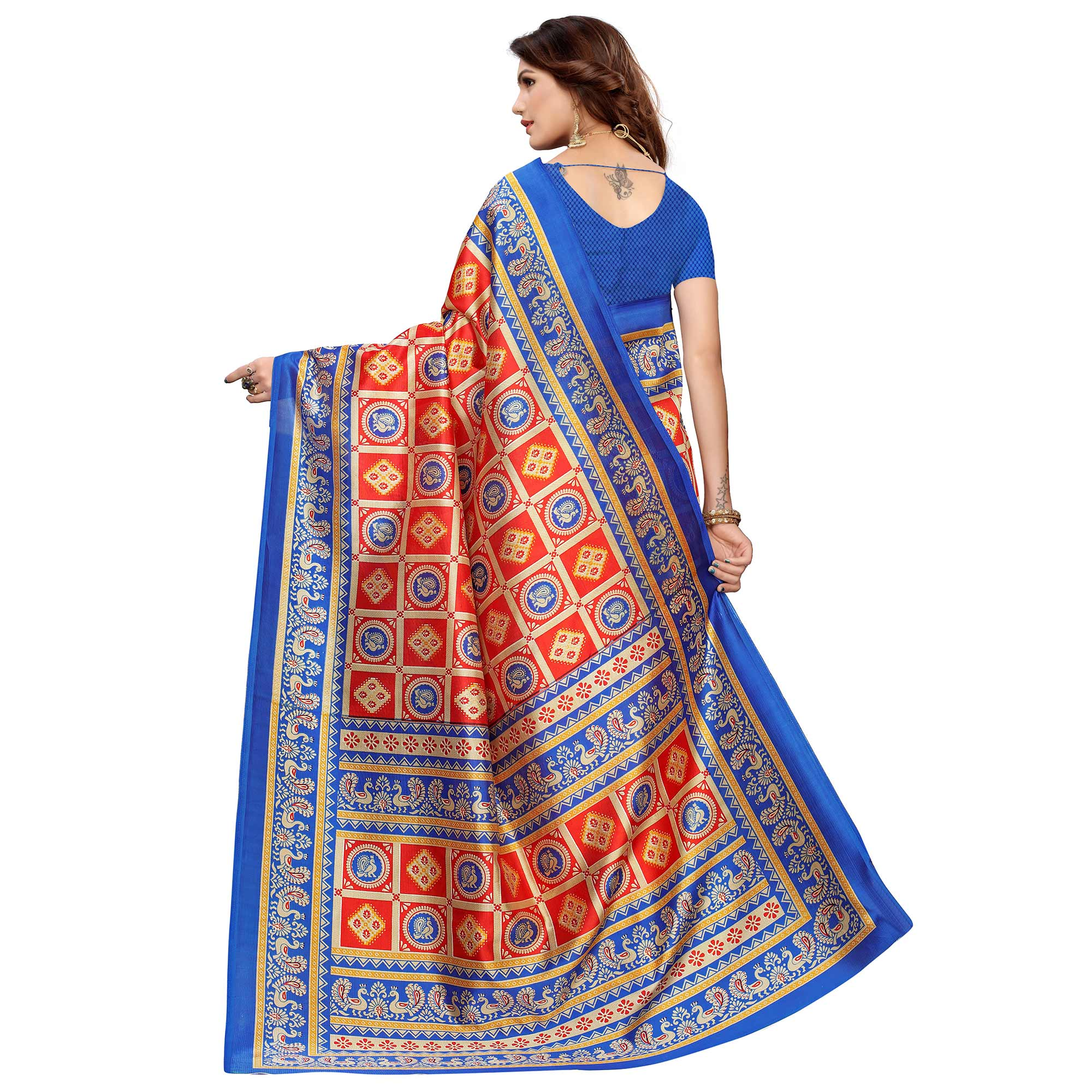 Ideal Red Colored Casual Printed Mysore Silk Saree