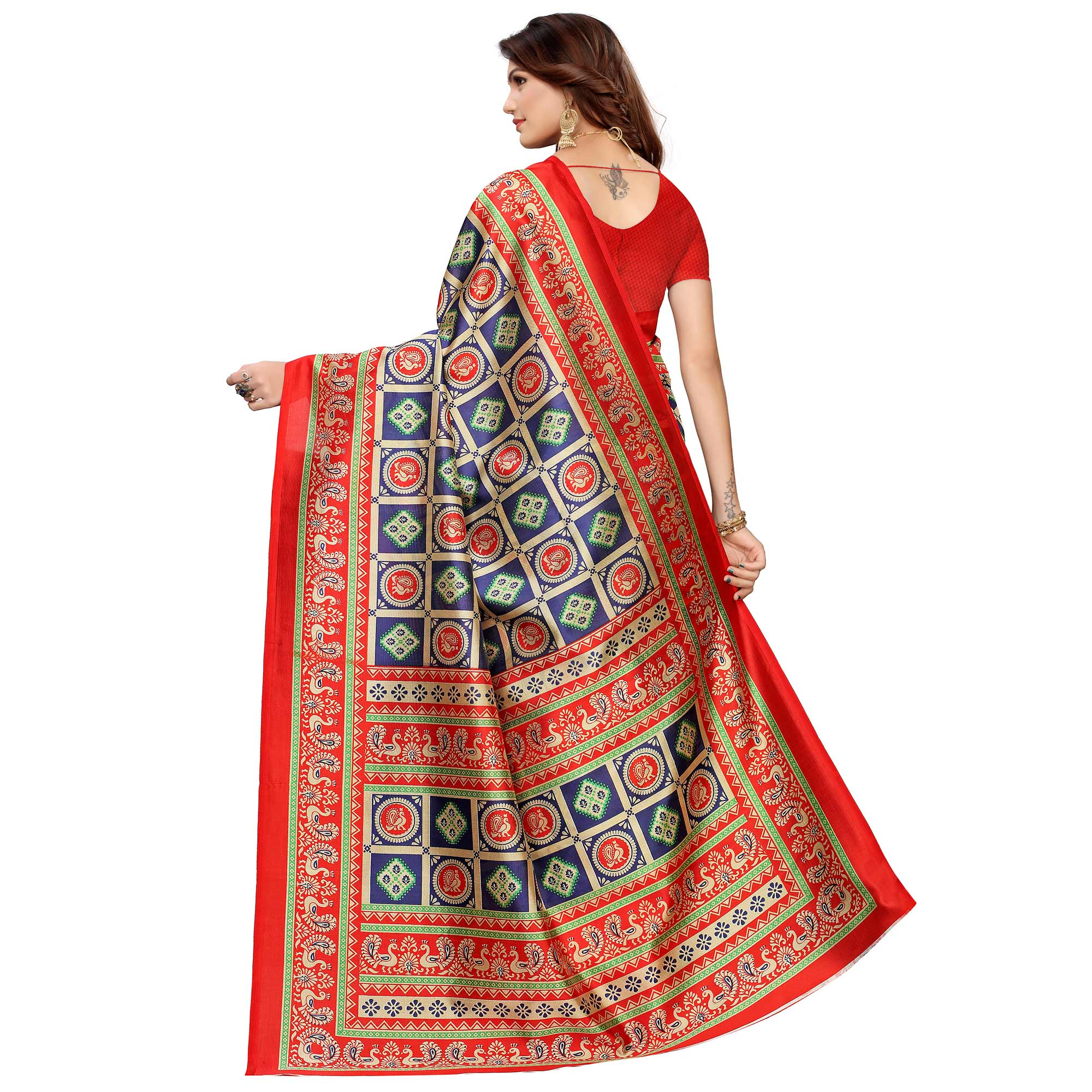 Imposing Navy Blue Colored Casual Printed Mysore Silk Saree