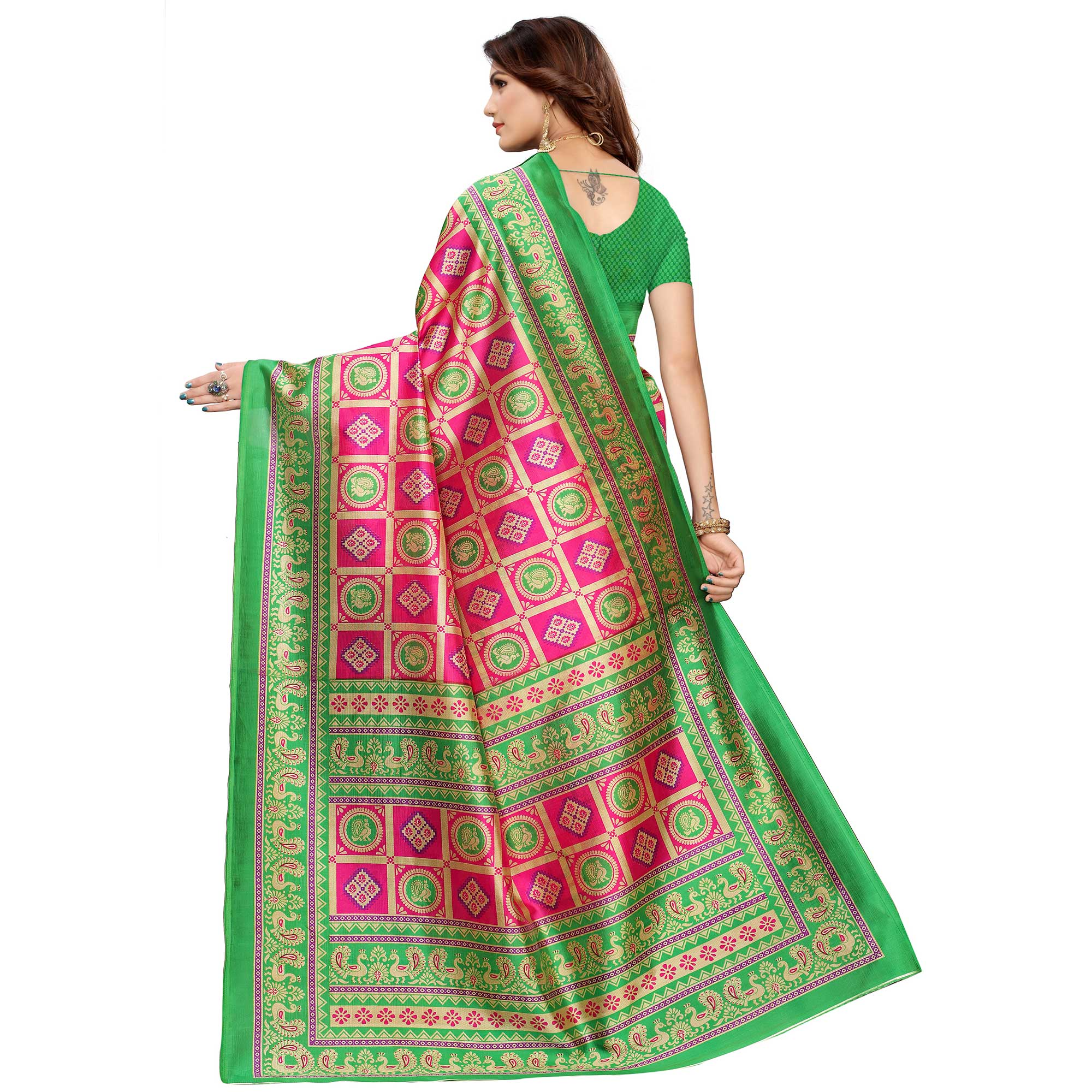 Lovely Pink Colored Casual Printed Mysore Silk Saree