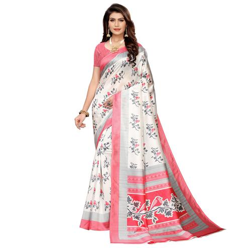 Mesmerising White-Red Colored Casual Printed Mysore Silk Saree