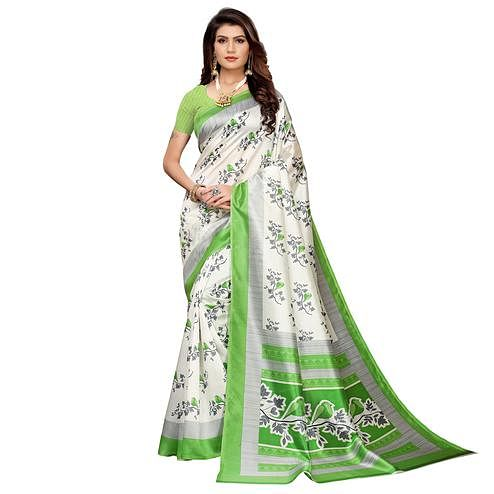 Pleasance White-Green Colored Casual Printed Mysore Silk Saree