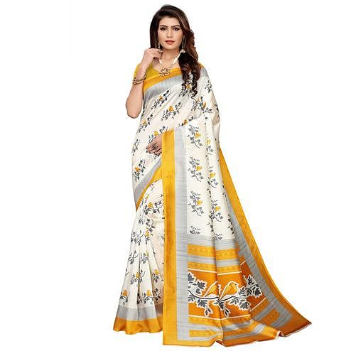 Breathtaking White-Yellow Colored Casual Printed Mysore Silk Saree
