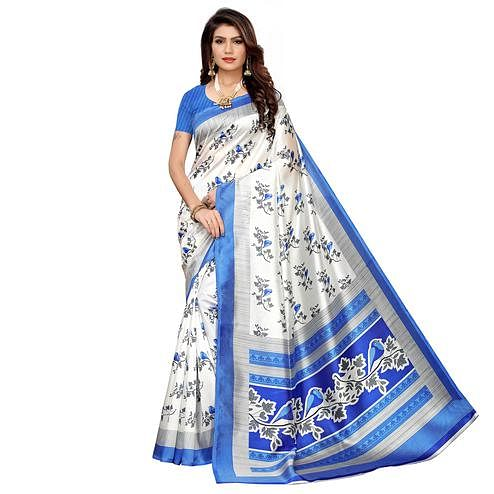 Impressive White-Blue Colored Casual Printed Mysore Silk Saree