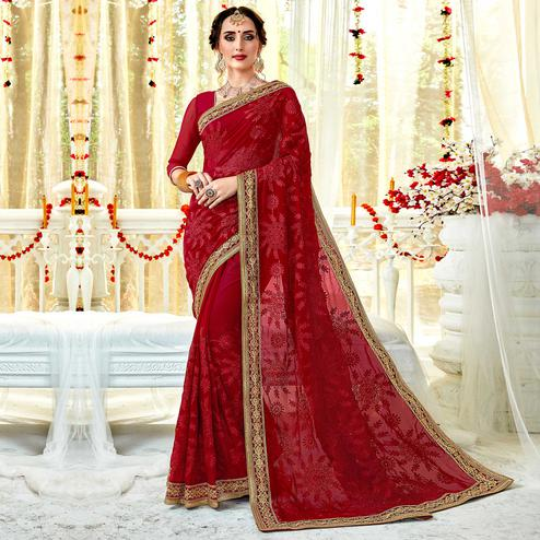 Delightful Crimson Red Colored Partywear Embroidered Georgette Saree