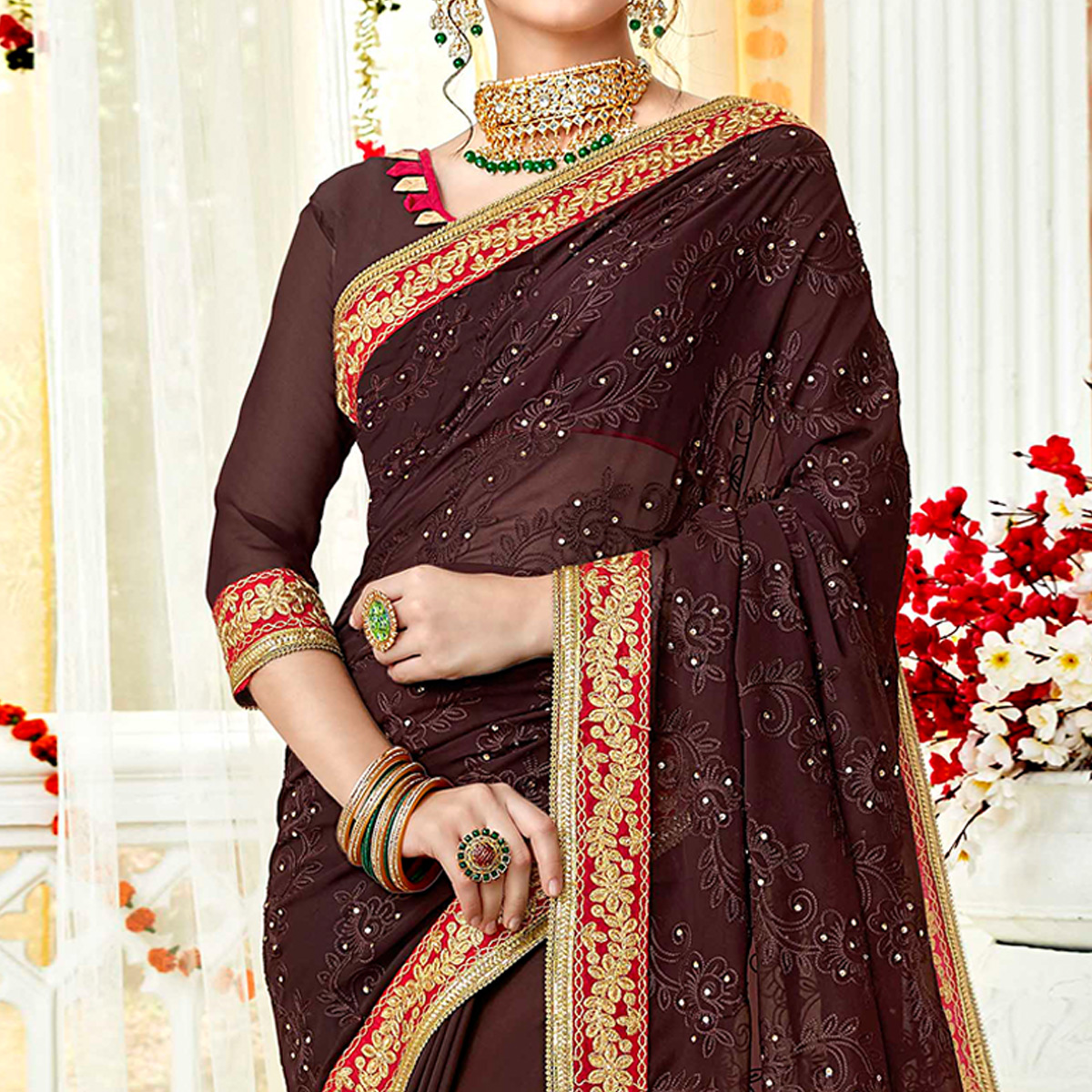 Innovative Brown Colored Partywear Embroidered Georgette Saree