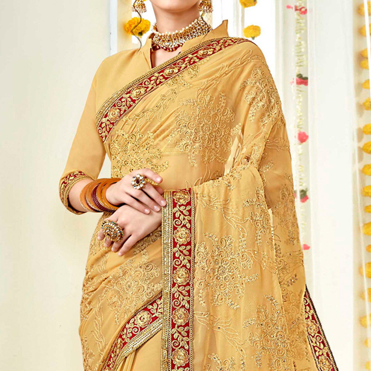 Eye-catching Yellow Colored Partywear Embroidered Georgette Saree