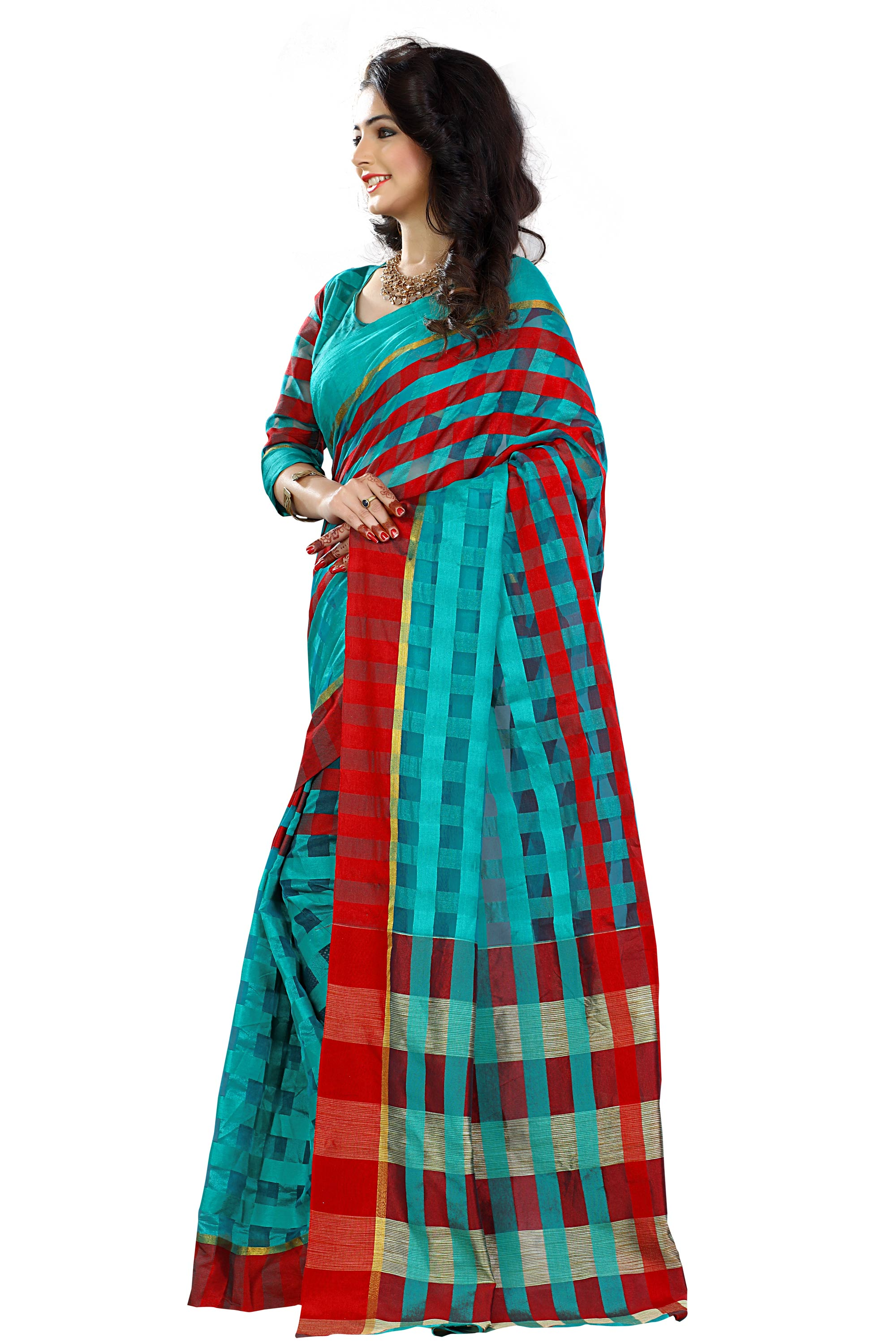 Blue - Red Checkered Print Work Saree