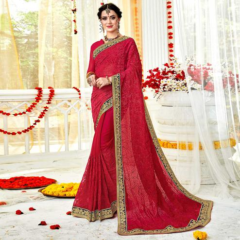 Fantastic Pink Colored Partywear Embroidered Georgette Saree