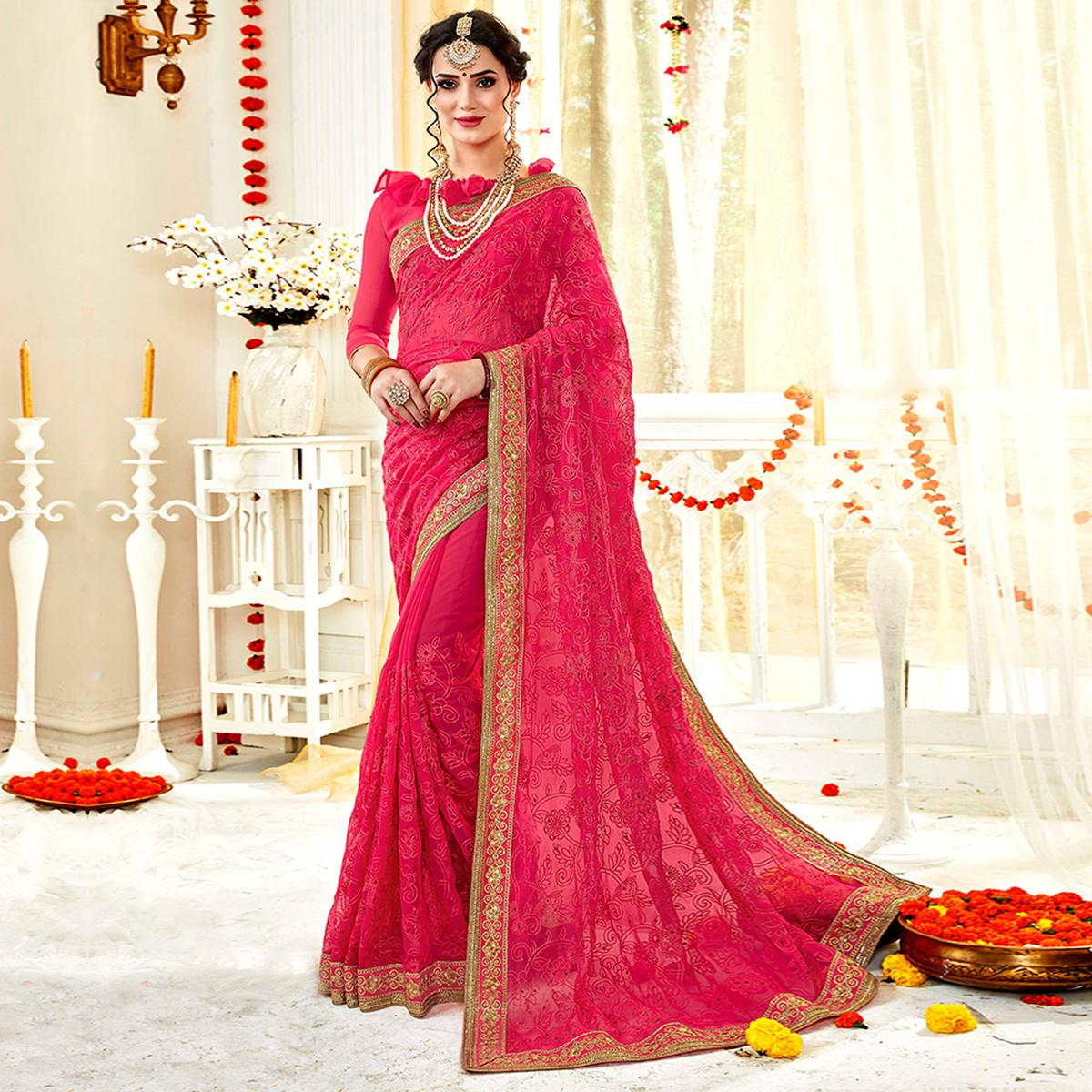 Gorgeous Light Pink Colored Partywear Embroidered Georgette Saree