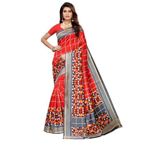 Ethnic Red Colored Casual Printed Mysore Silk Saree