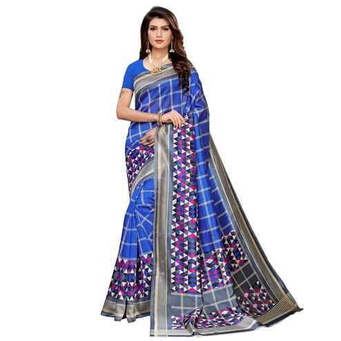 Ravishing Blue Colored Casual Printed Mysore Silk Saree