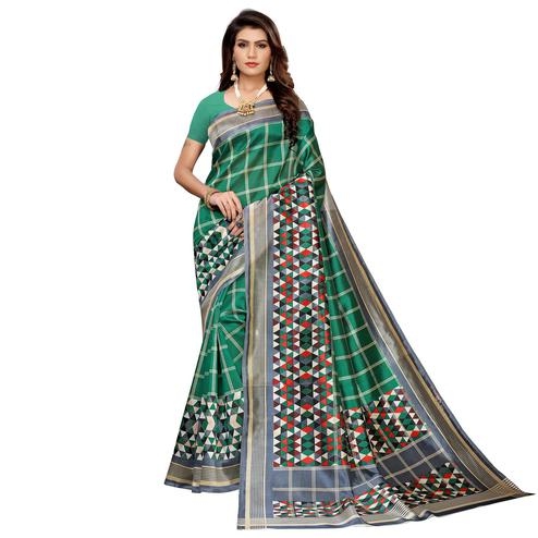 Staring Green Colored Casual Printed Mysore Silk Saree
