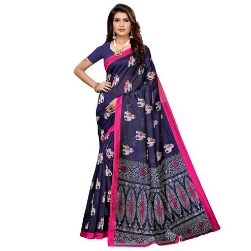 Intricate Navy Blue Colored Casual Printed Mysore Silk Saree