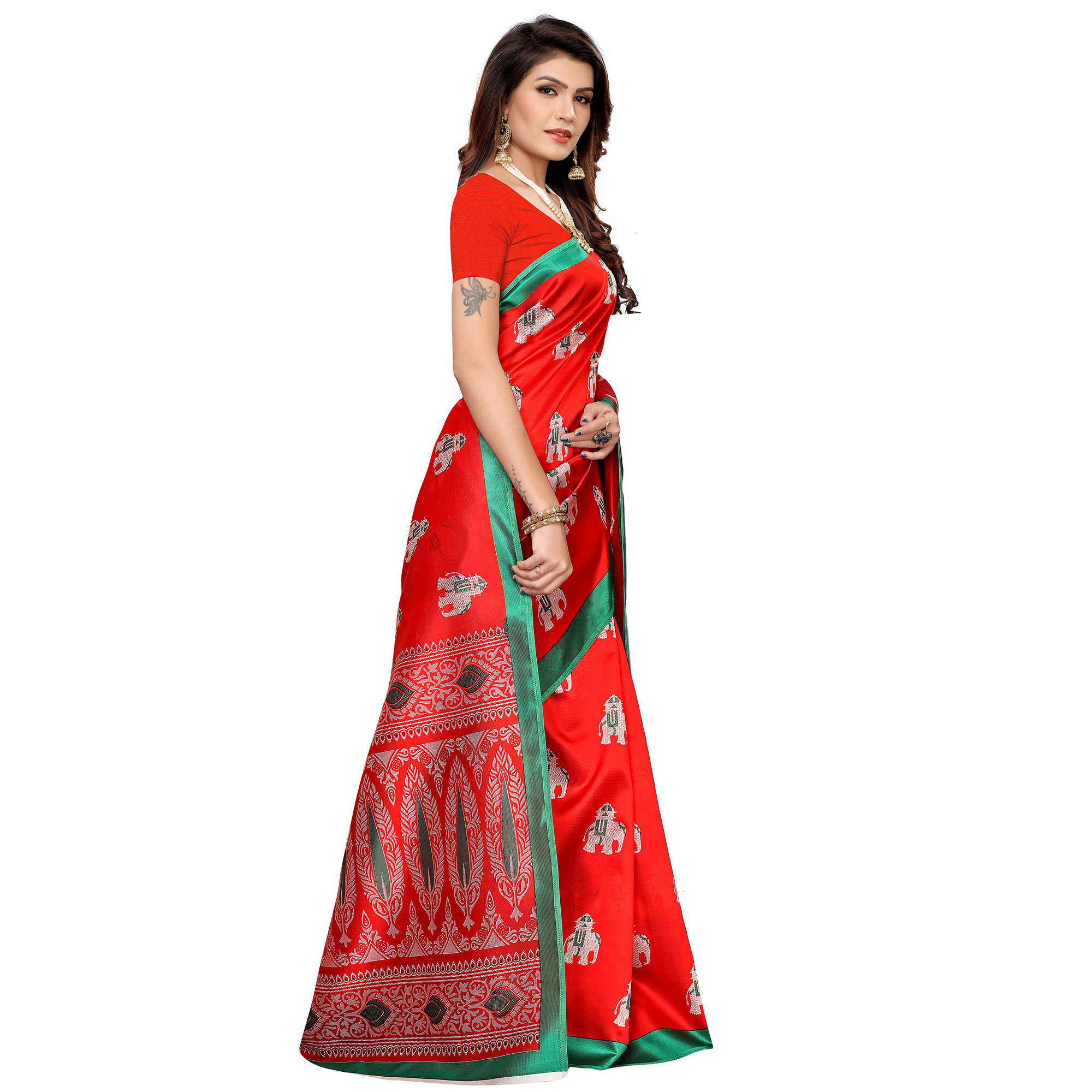 Arresting Red Colored Casual Printed Mysore Silk Saree