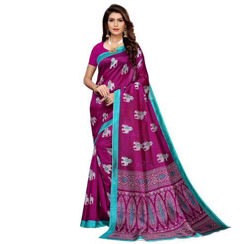 Desirable Deep Magenta Pink Colored Casual Printed Mysore Silk Saree