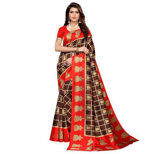 Exotic Brown Colored Casual Printed Mysore Silk Saree