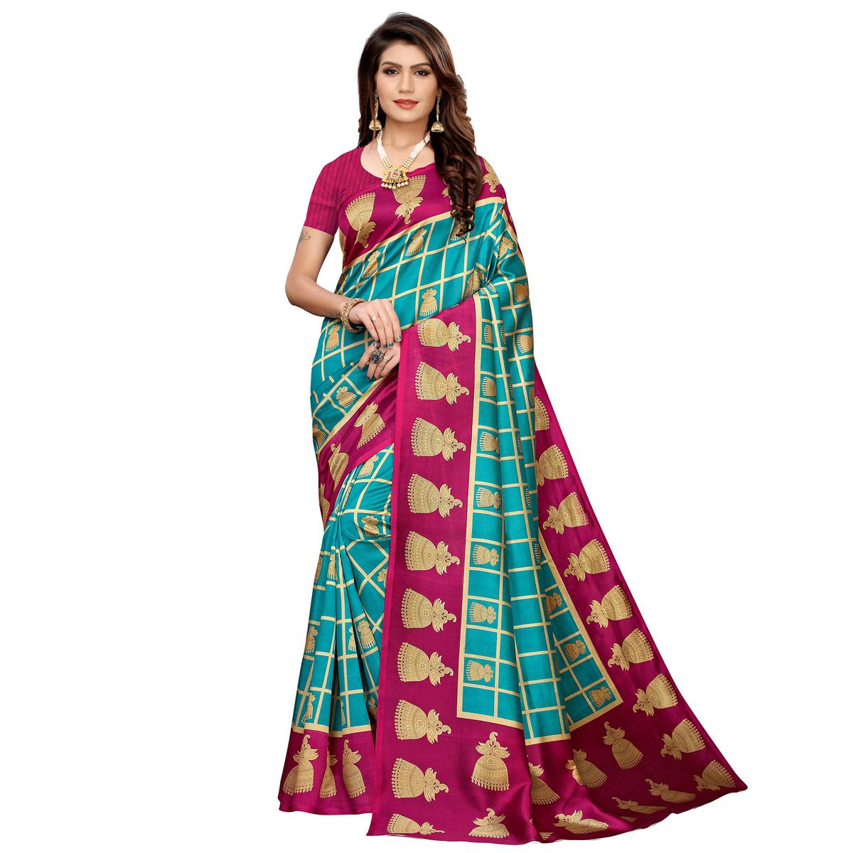 Sophisticated Turquoise Blue Colored Casual Printed Mysore Silk Saree