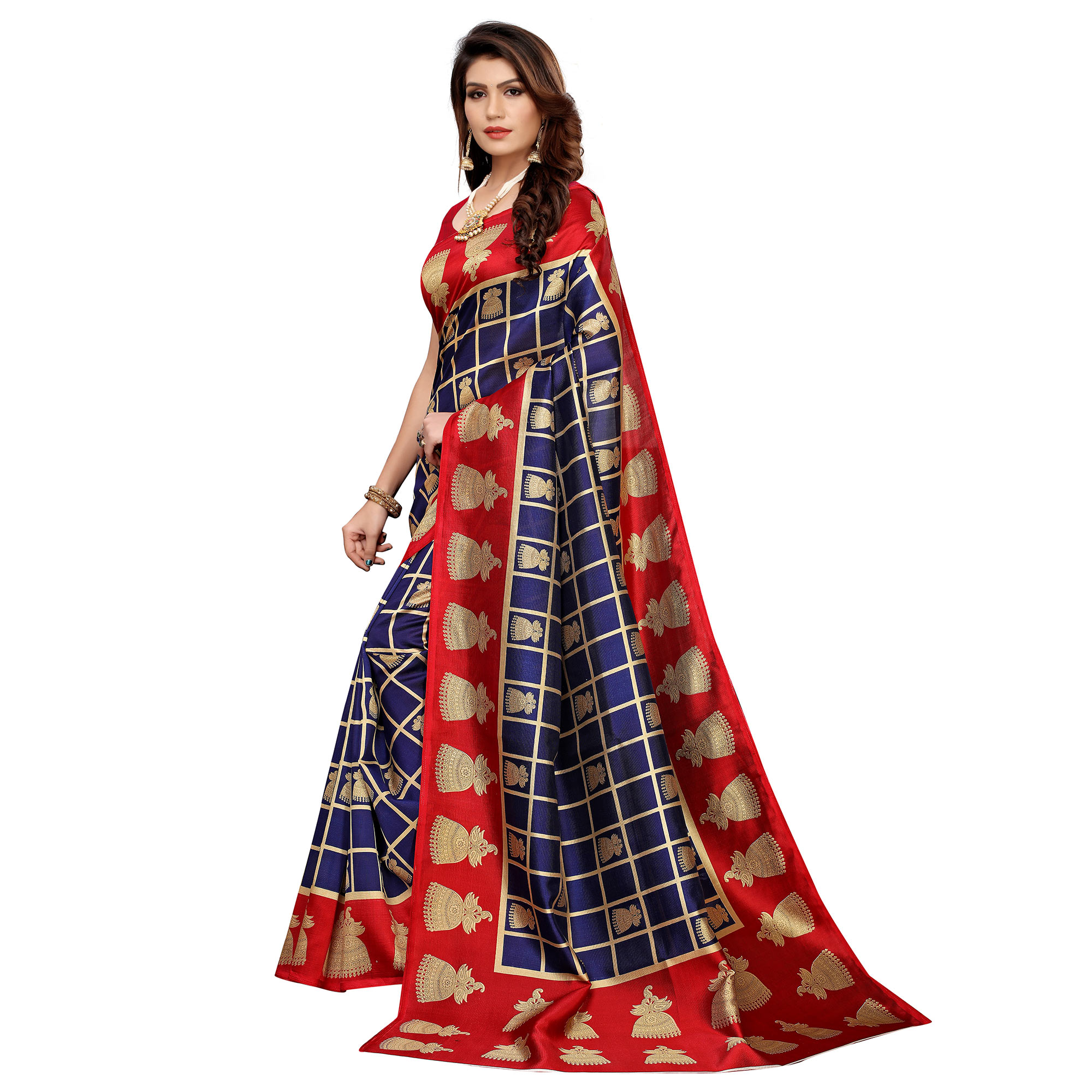 Trendy Navy Blue Colored Casual Printed Mysore Silk Saree