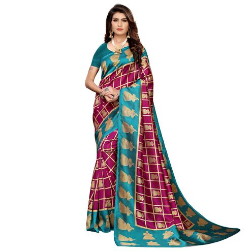 Elegant Deep Magenta Pink Colored Casual Printed Mysore Silk Saree