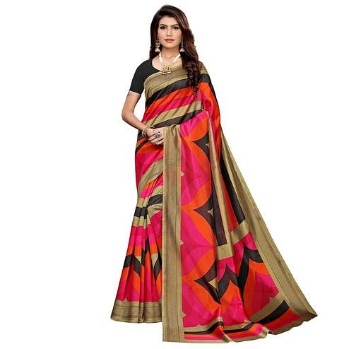 Pleasant Multi-Black Colored Casual Printed Mysore Silk Saree