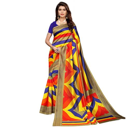 Opulent Multi-Navy Blue Colored Casual Printed Mysore Silk Saree
