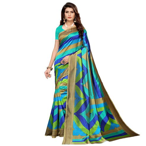 Energetic Multi-Turquoise Green Colored Casual Printed Mysore Silk Saree