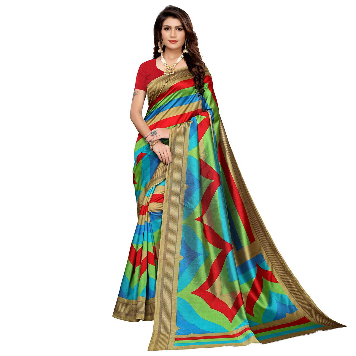 Radiant Multi-Red Colored Casual Printed Mysore Silk Saree