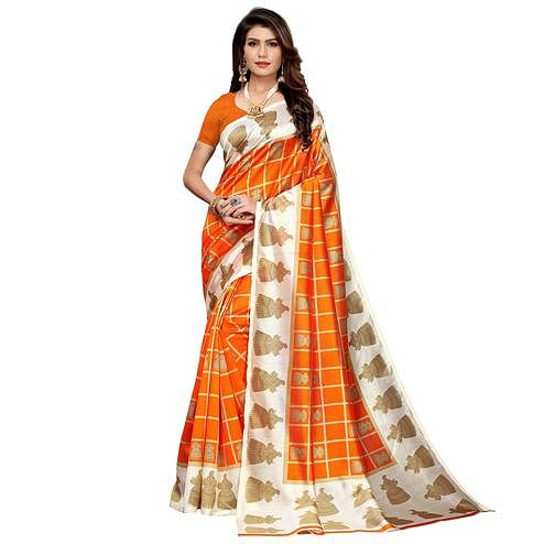 Glowing Orange Colored Casual Printed Mysore Silk Saree