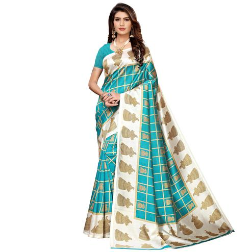 Exceptional Sky Blue Colored Casual Printed Mysore Silk Saree