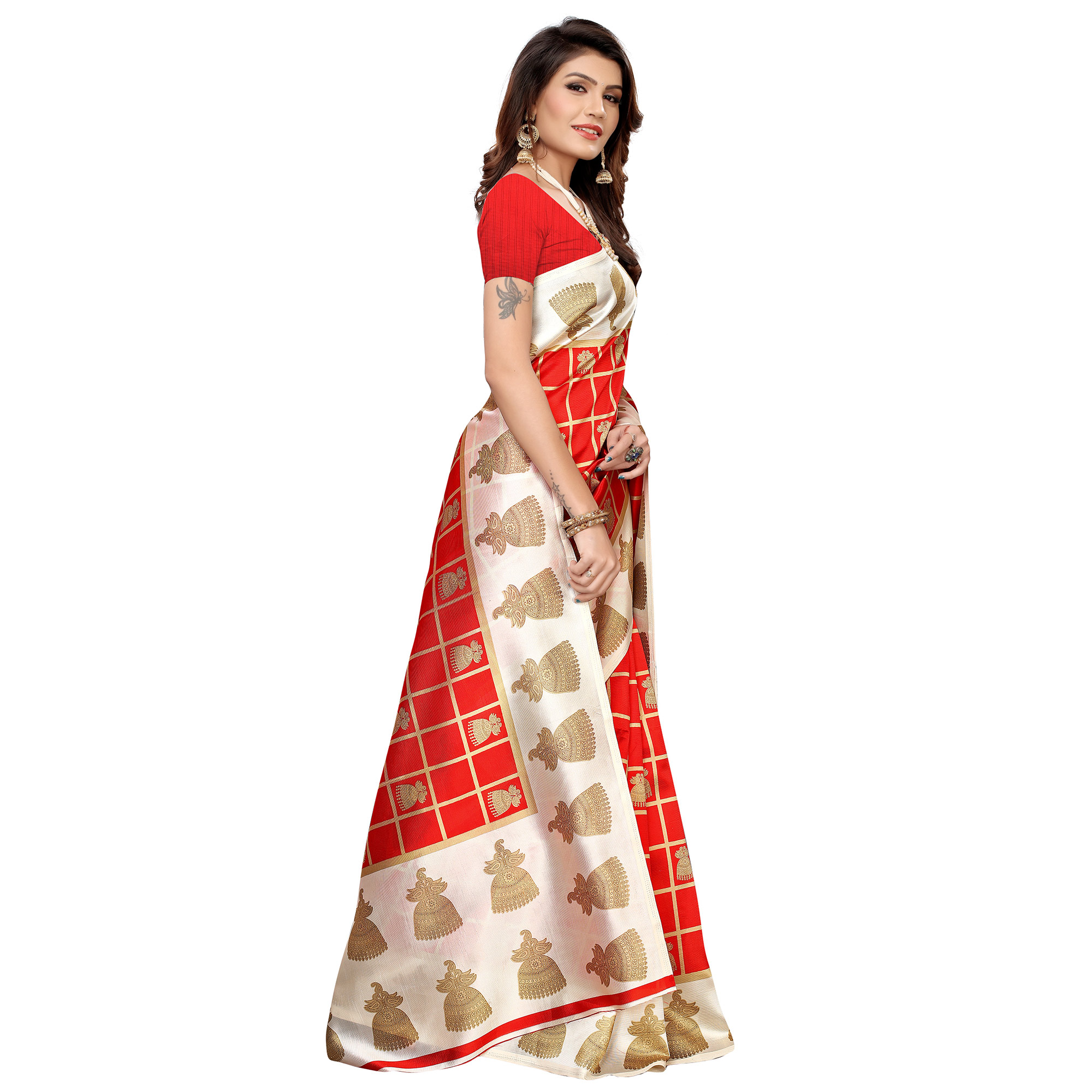 Gleaming Red Colored Casual Printed Mysore Silk Saree