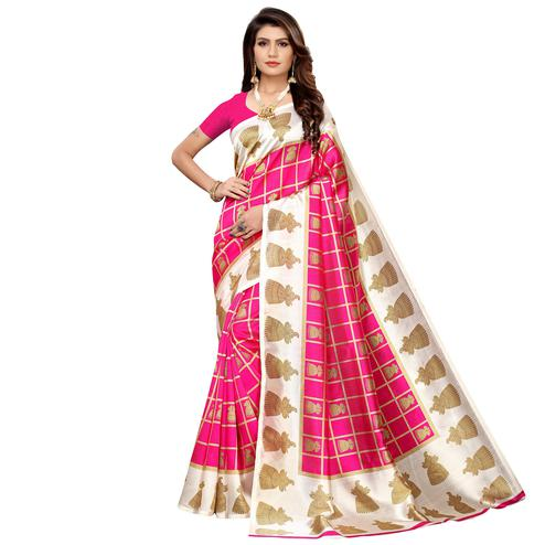 Mesmeric Pink Colored Casual Printed Mysore Silk Saree