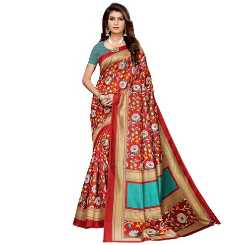 Demanding Red Colored Casual Printed Mysore Silk Saree