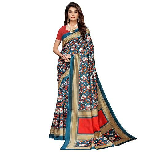 Refreshing Teal Blue Colored Casual Printed Mysore Silk Saree