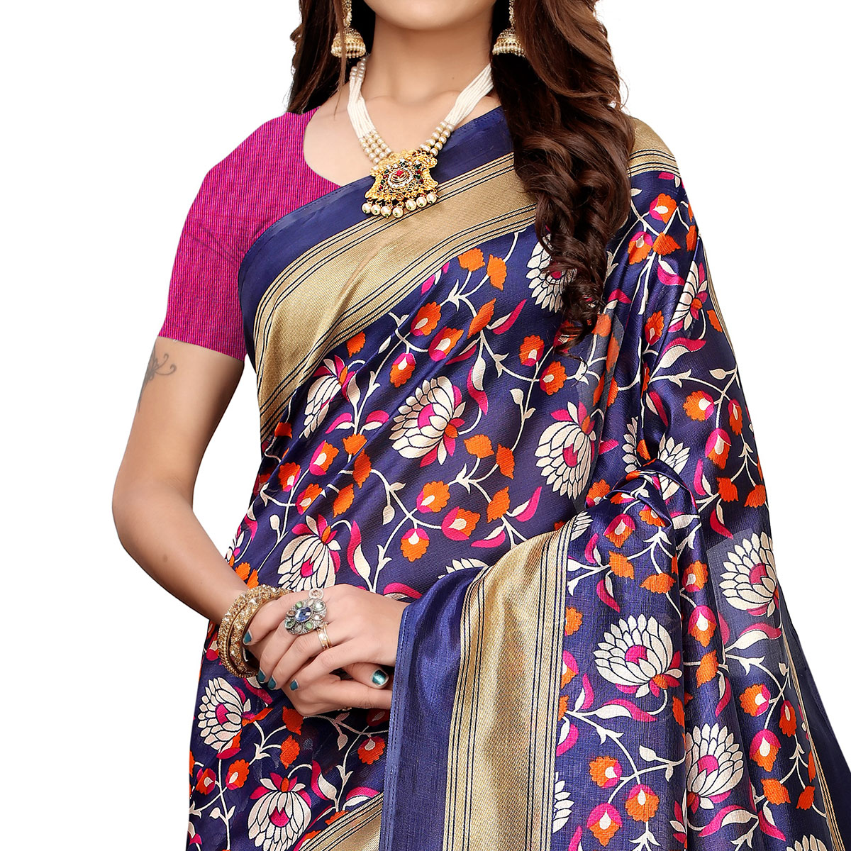 Magnetic Navy Blue Colored Casual Printed Mysore Silk Saree