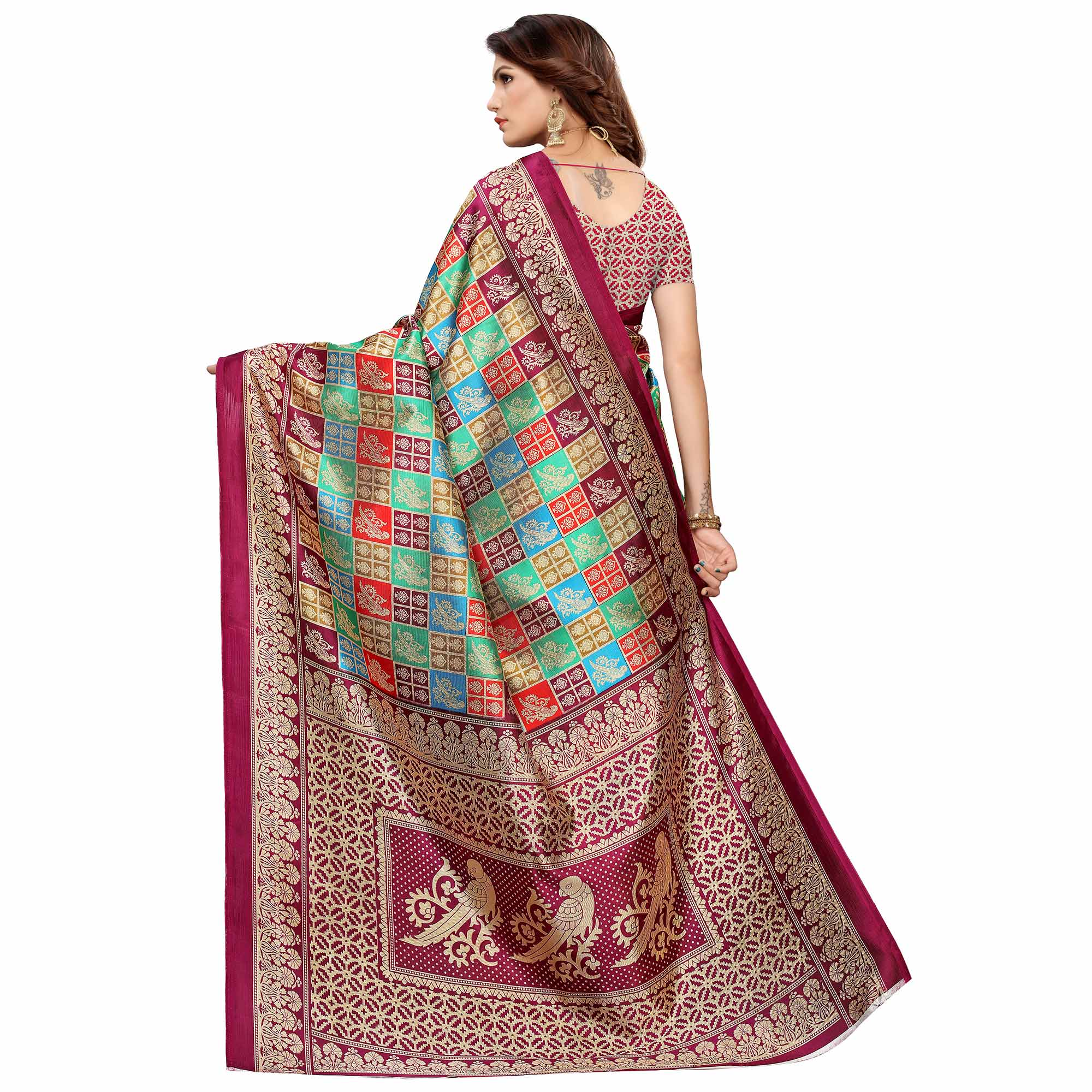 Hypnotic Multi-Deep Magenta Pink Colored Casual Printed Mysore Silk Saree