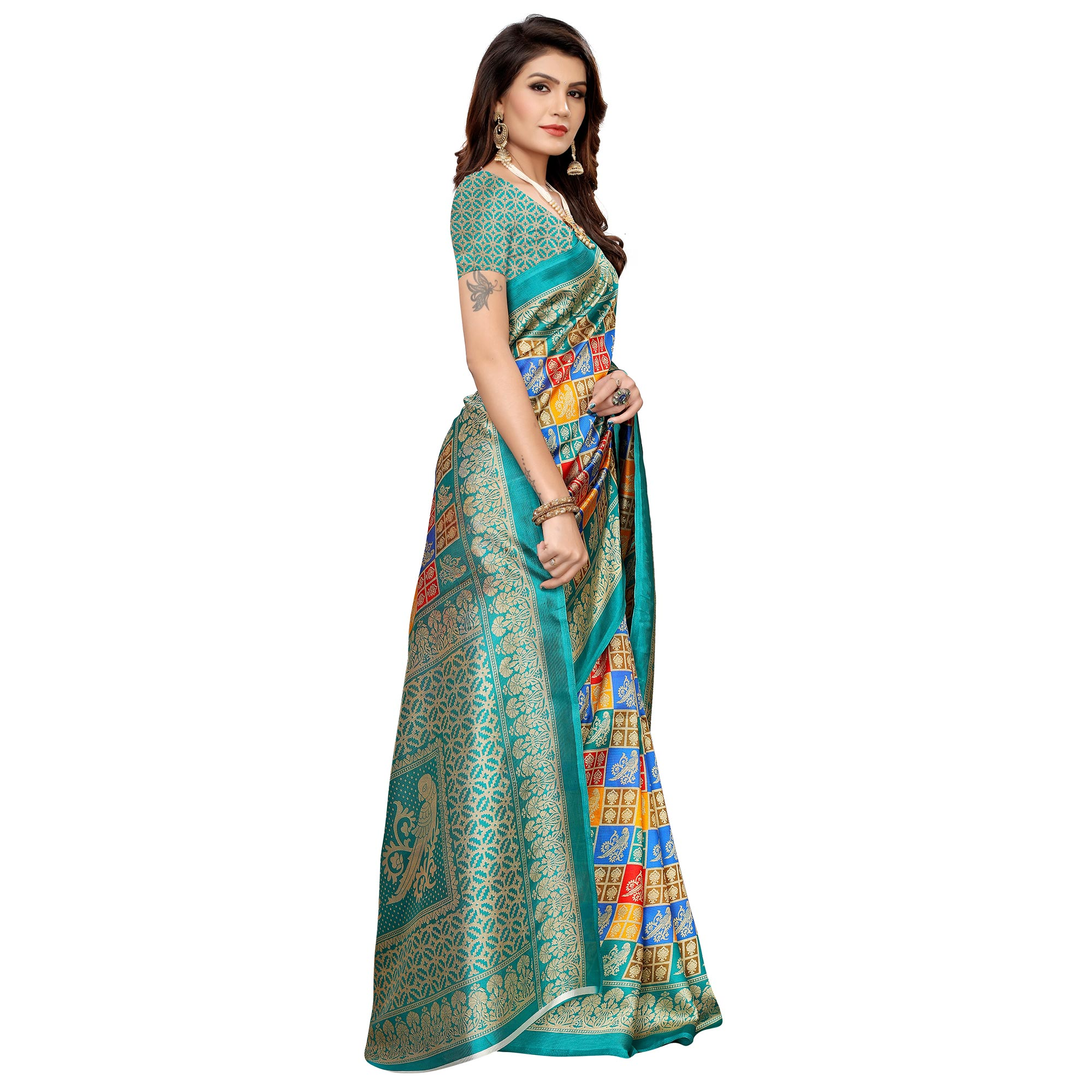 Flattering Multi-Turquoise Blue Colored Casual Printed Mysore Silk Saree