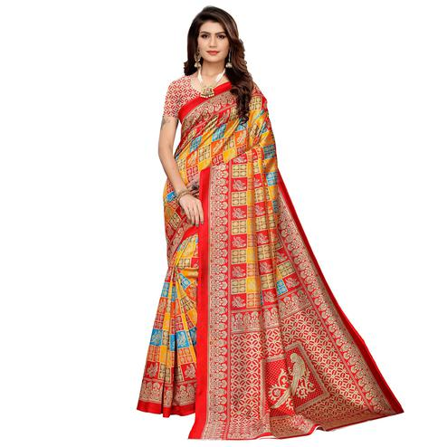 Excellent Multi-Red Colored Casual Printed Mysore Silk Saree