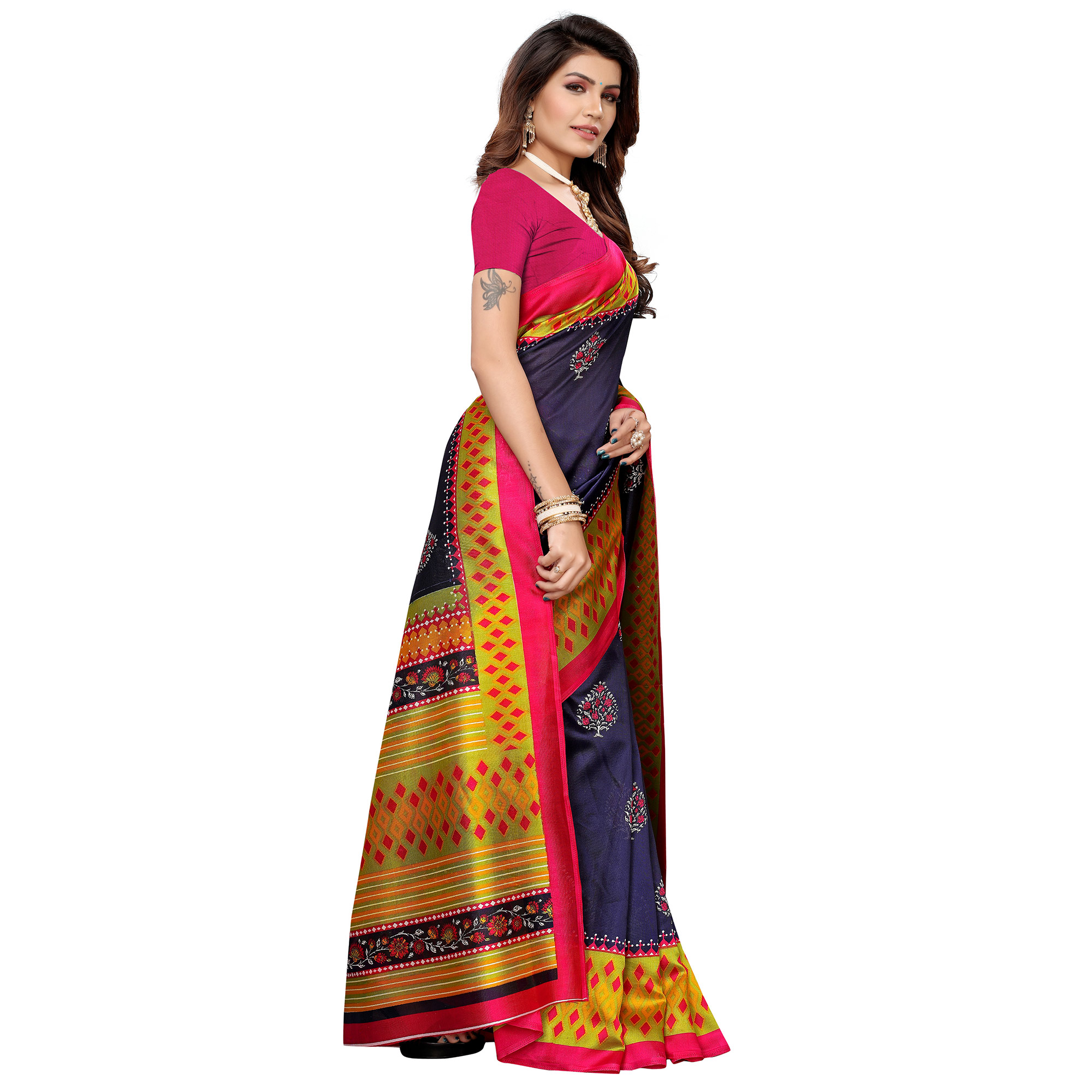 Flamboyant Navy Blue Colored Casual Printed Mysore Silk Saree