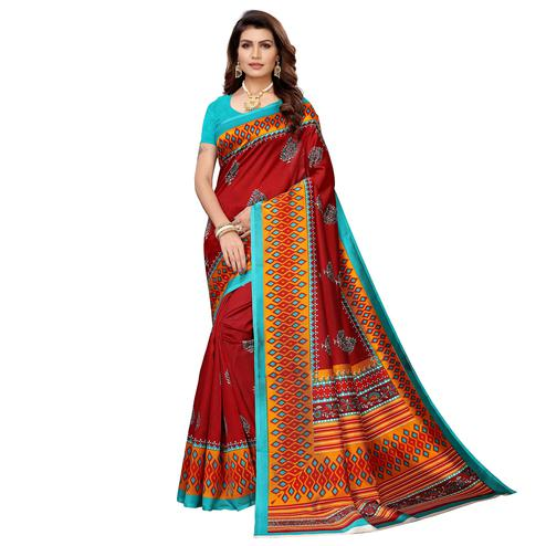 Pretty Maroon Colored Casual Printed Mysore Silk Saree