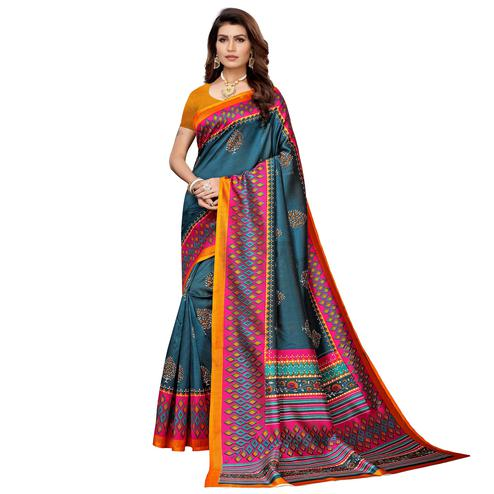Alluring Teal Blue Colored Casual Printed Mysore Silk Saree