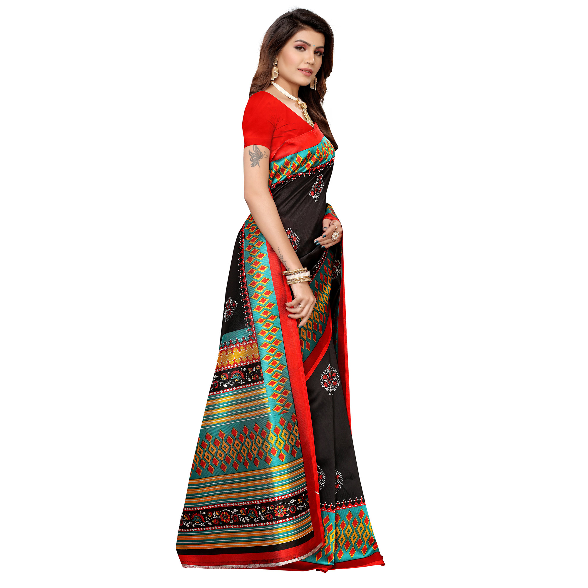 Marvellous Black Colored Casual Printed Mysore Silk Saree