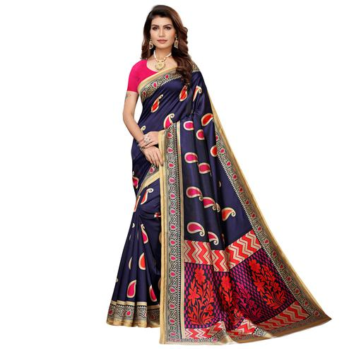 Sensational Navy Blue Colored Casual Printed Mysore Silk Saree
