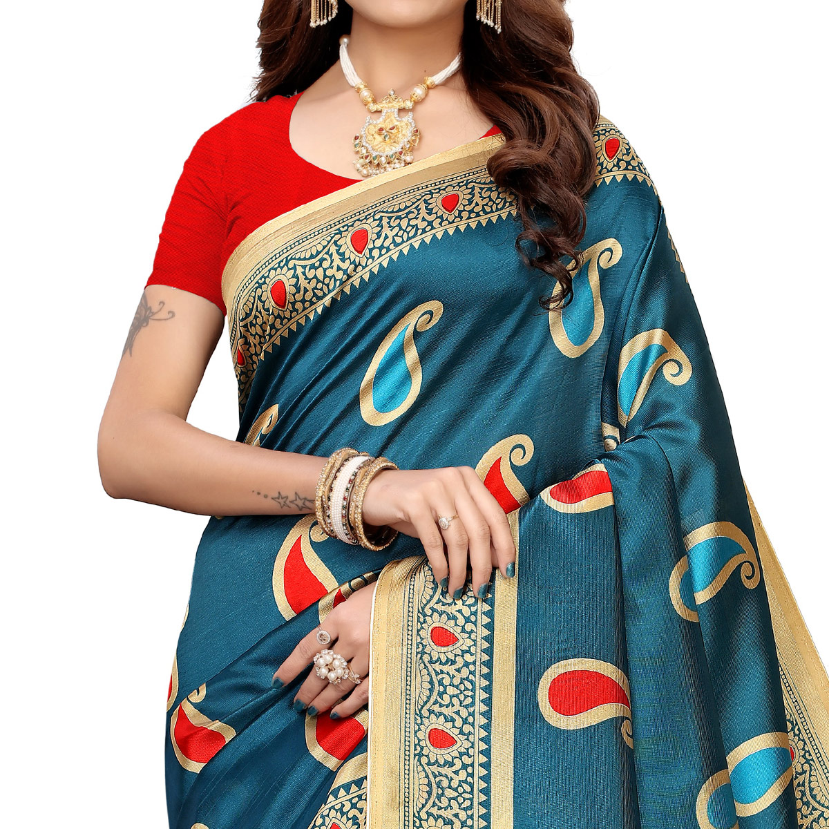 Flaunt Teal Blue Colored Casual Printed Mysore Silk Saree