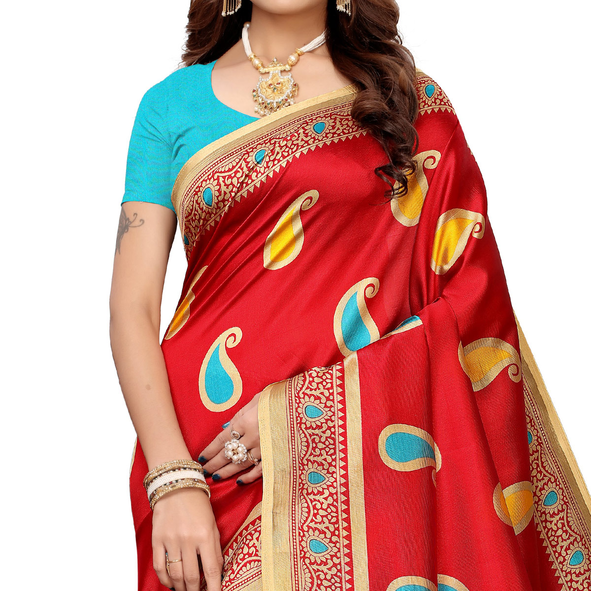 Stunning Red Colored Casual Printed Mysore Silk Saree