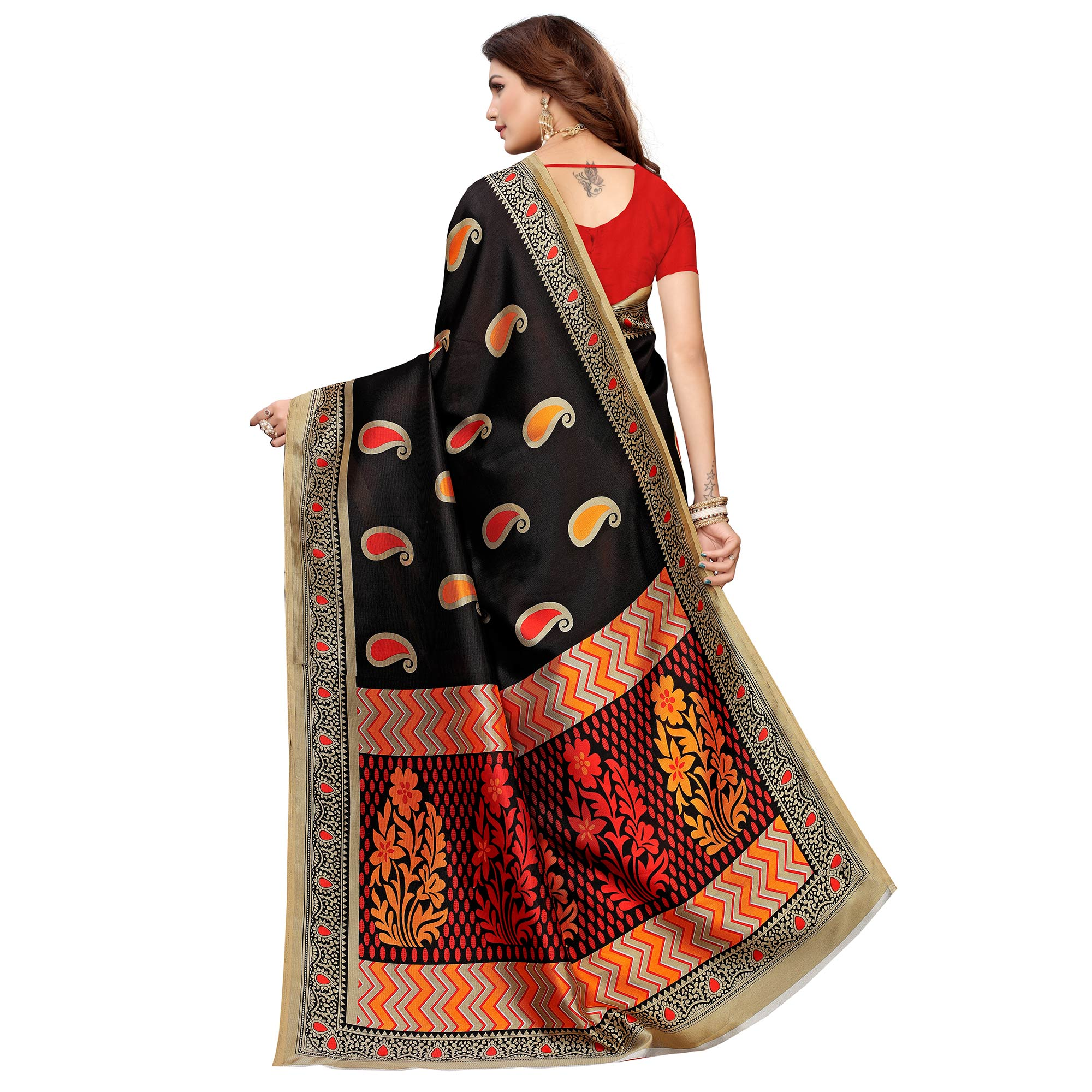 Flirty Black Colored Casual Printed Mysore Silk Saree