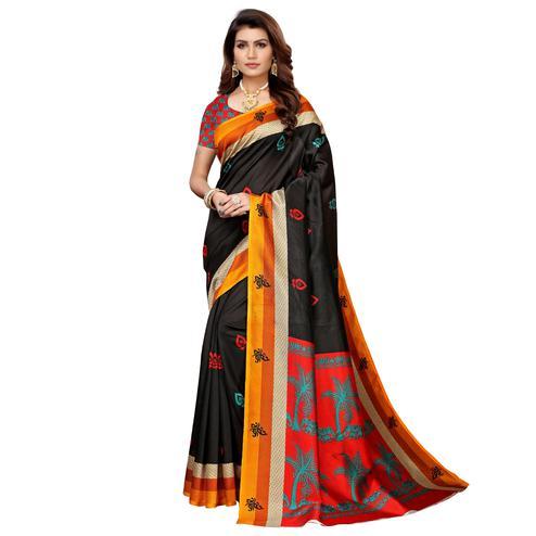 Classy Black Colored Casual Printed Mysore Silk Saree