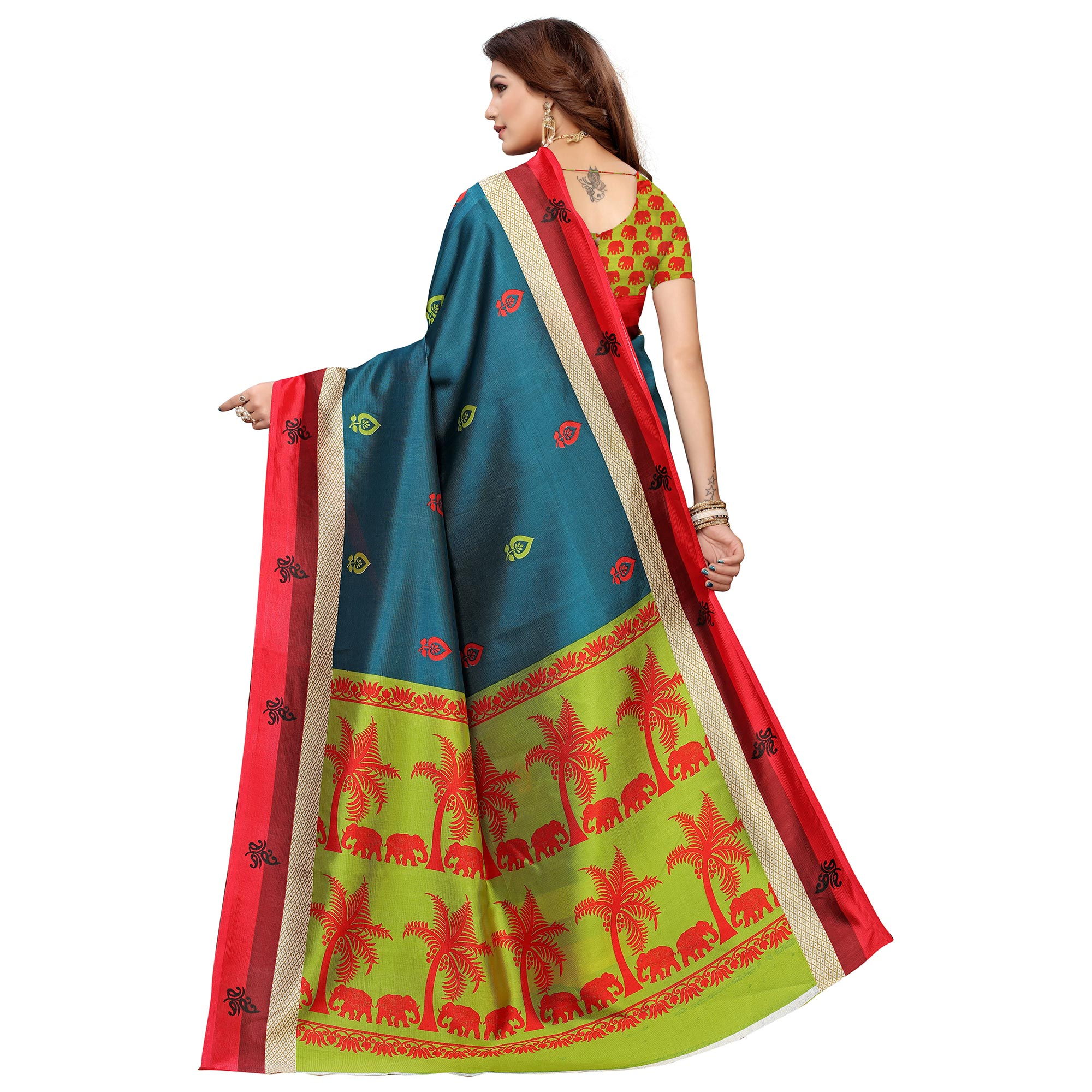 Adorning Teal Blue Colored Casual Printed Mysore Silk Saree